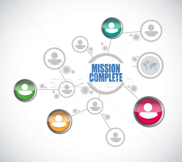 Missie compleet mensen diagram teken illustratie Stockfoto © alexmillos