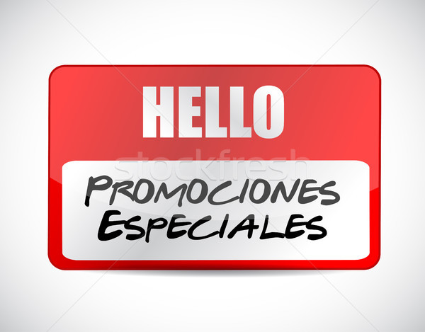 Stock photo: special promotions in Spanish name tag sign