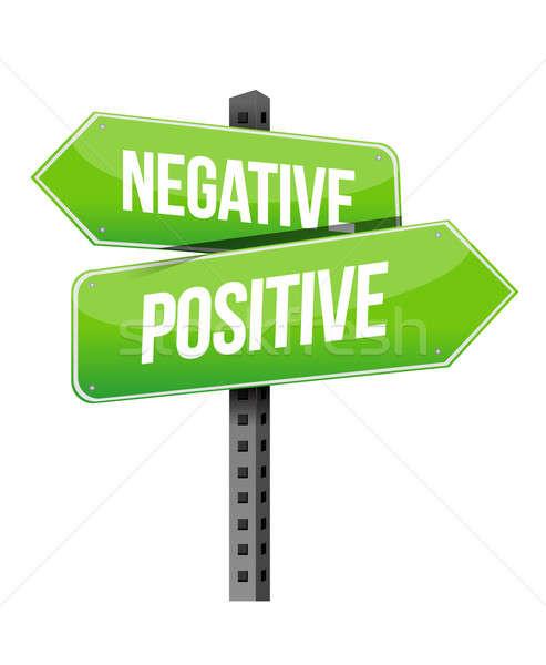 Сток-фото: положительный · негативных · знак · иллюстрация · дизайна · белый