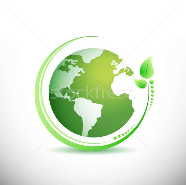 Vert terre écologie illustration design blanche Photo stock © alexmillos
