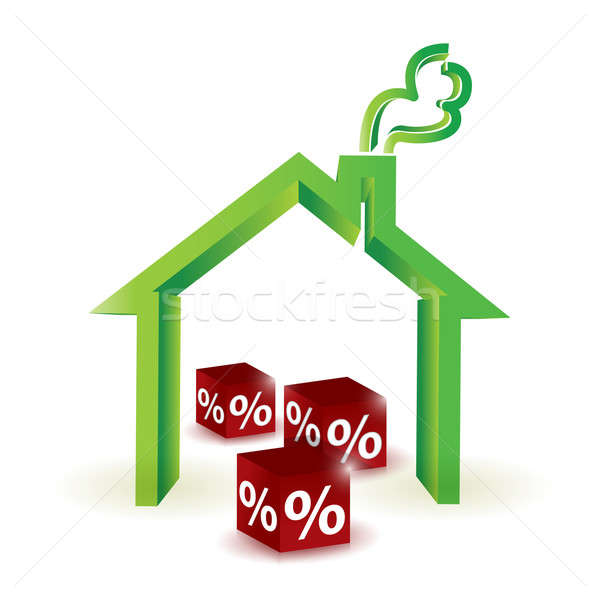 house discount percentage. illustration design Stock photo © alexmillos
