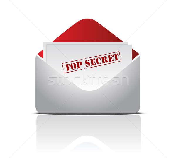 Top secret letter illustration design over white Stock photo © alexmillos