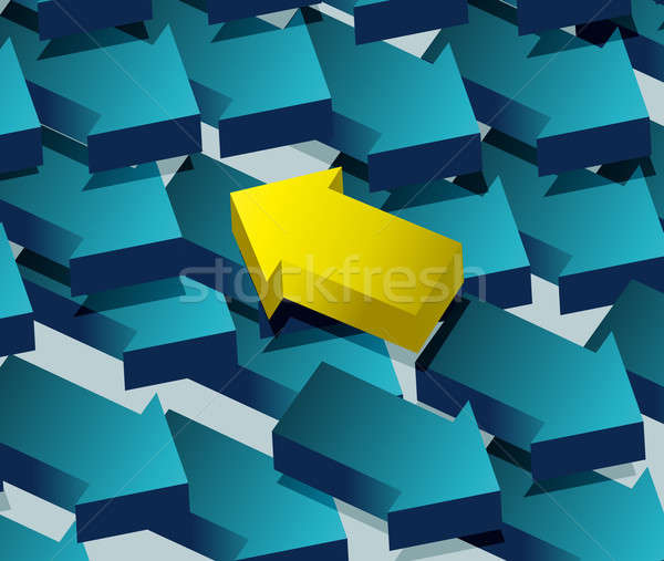 Concept of contradiction. Arrows pointing to an opposite directi Stock photo © alexmillos