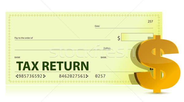 Belasting terugkeren controleren illustratie ontwerp business Stockfoto © alexmillos