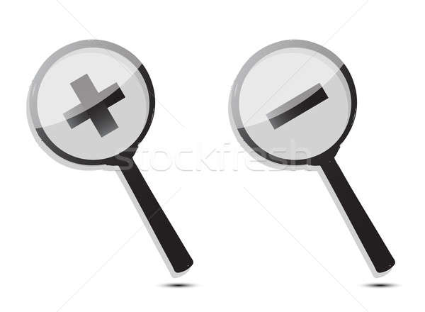 Monochromatic increase-decrease magnifiers icons isolated over w Stock photo © alexmillos