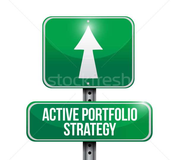 активный портфеля стратегия дорожный знак иллюстрация дизайна Сток-фото © alexmillos
