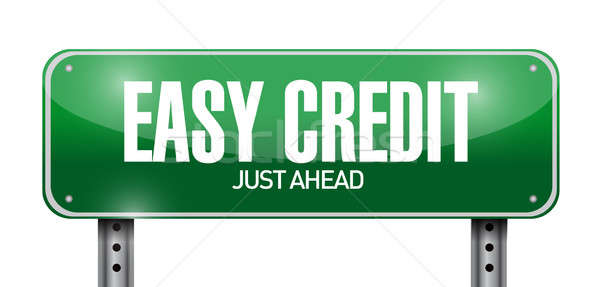 easy credit road sign illustration design over a white backgroun Stock photo © alexmillos
