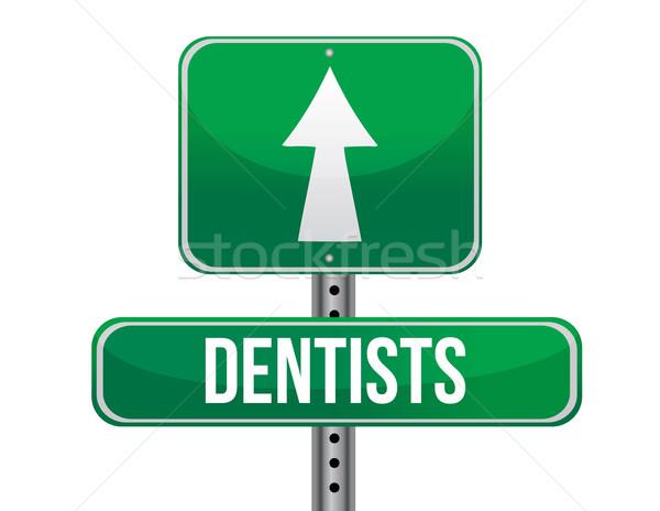 dentist road sign illustration design over a white background Stock photo © alexmillos