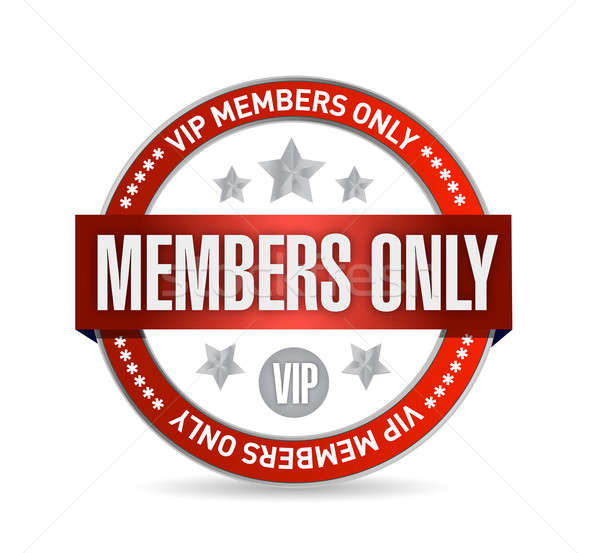 Members only. VIP seal illustration design over white Stock photo © alexmillos