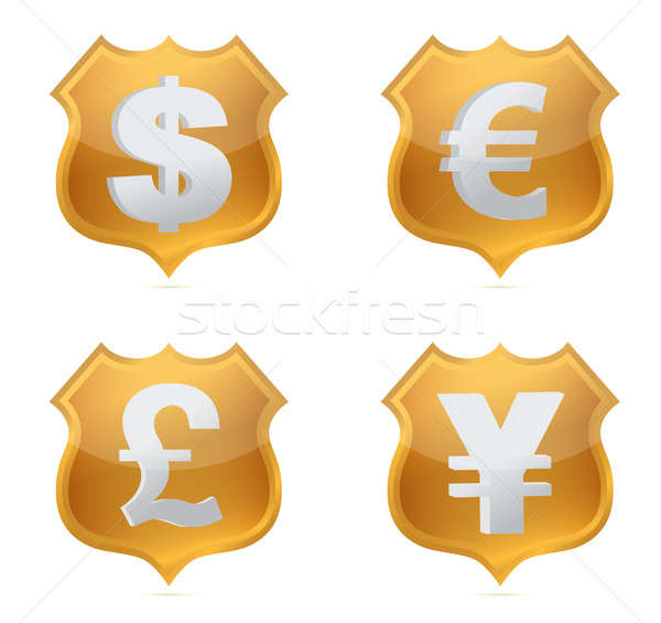 Shield currency signs of protection illustration design Stock photo © alexmillos
