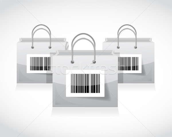 Bevásárlótáskák szett vonalkód illusztráció terv bár Stock fotó © alexmillos