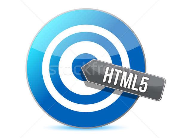 bullseye target internet html5 illustration design over white ba Stock photo © alexmillos
