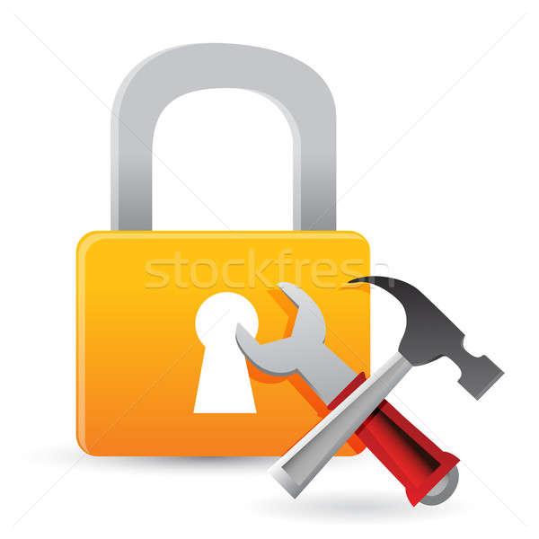 Blokady narzędzia ilustracja projektu biały krzyż Zdjęcia stock © alexmillos