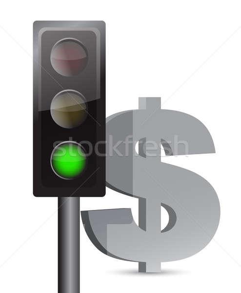 Foto stock: Verde · luz · dólar · ilustración · diseno · blanco