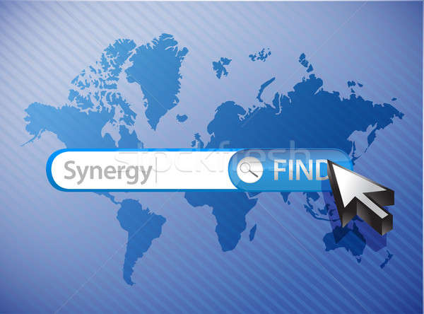 synergy search world map illustration design over a blue backgro Stock photo © alexmillos