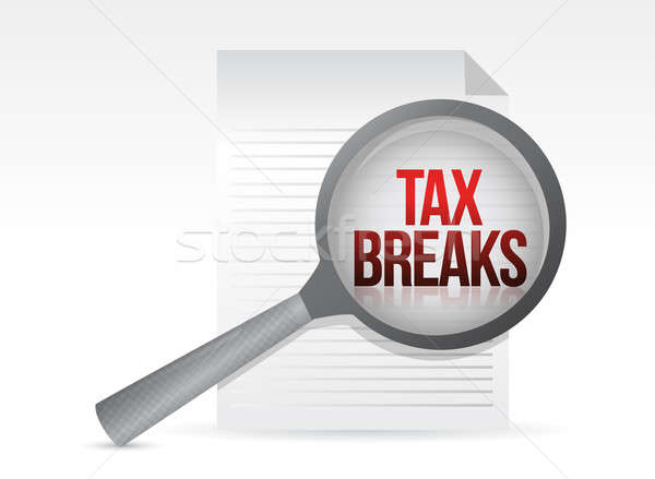 Stock photo: looking for tax breaks. Under a magnifier. Illustration design o