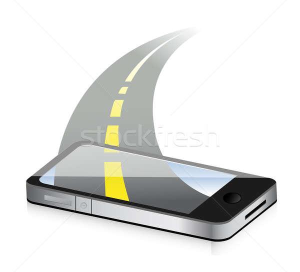технологий дороги смартфон иллюстрация дизайна белый Сток-фото © alexmillos