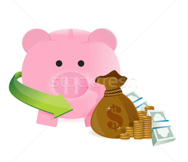 Pénz táska megtakarított pénz illusztráció terv fehér Stock fotó © alexmillos