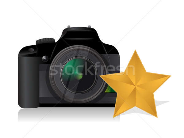 camera gold star review concept illustration design over white Stock photo © alexmillos