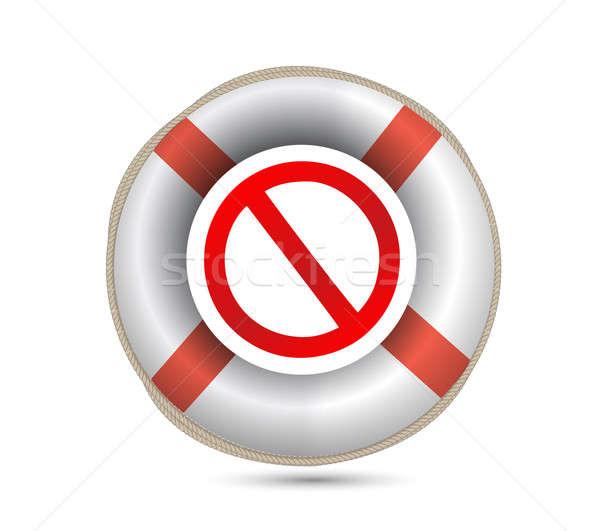 Lifebuoy and forbid symbol.Isolated on white. illustration desig Stock photo © alexmillos