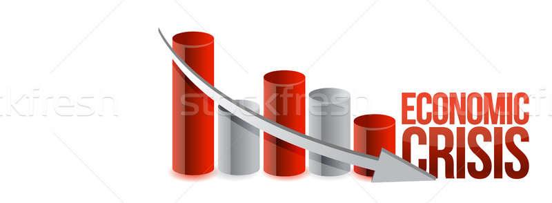 Ekonomiczny kryzys wykres ilustracja projektu czerwony Zdjęcia stock © alexmillos