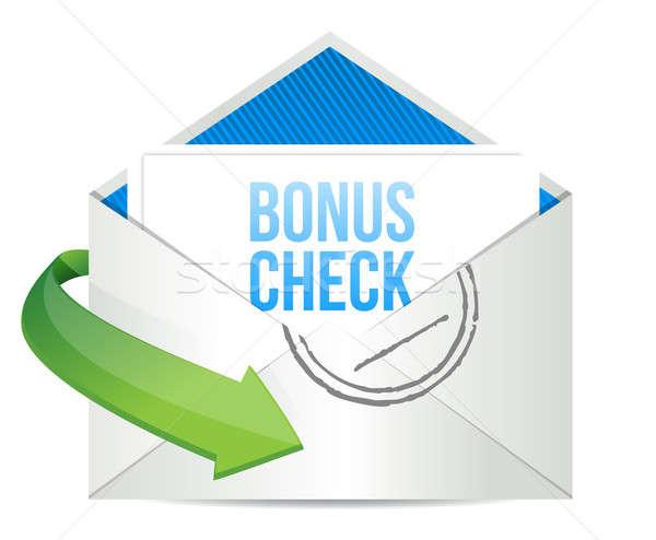 Bônus verificar envelope negócio escritório papel Foto stock © alexmillos