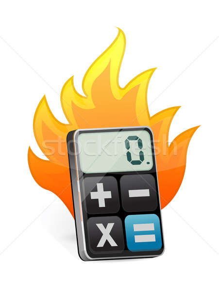 Fire and modern calculator  Stock photo © alexmillos
