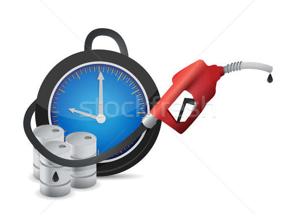 clock with a gas pump nozzle illustration design over a white ba Stock photo © alexmillos