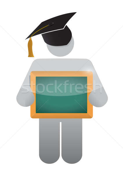 Stock photo: icon holding a class a clean chalkboard. illustration design