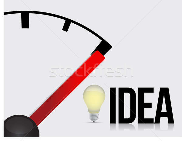 Ideas and needle pointing to a full light bulb Stock photo © alexmillos