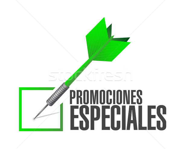 Stock photo: special promotions in Spanish check dart sign
