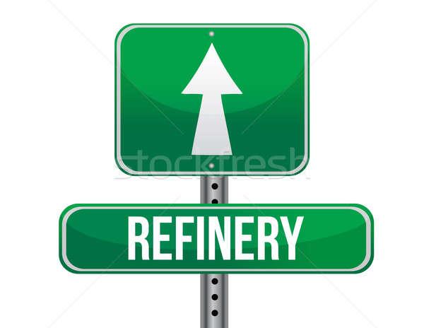 Rafineri yol işareti örnek dizayn beyaz Metal Stok fotoğraf © alexmillos