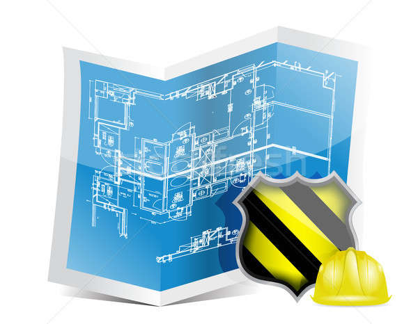 blueprint and under construction sign Stock photo © alexmillos