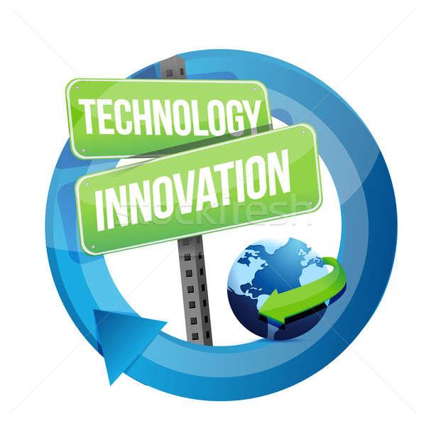 Technológia innováció jelzőtábla illusztráció terv fehér Stock fotó © alexmillos