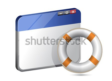 Folder icon with lifesaver over a white background Stock photo © alexmillos