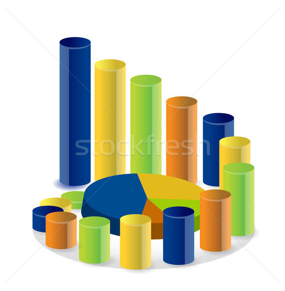 business graph and pie chart illustration Stock photo © alexmillos