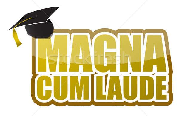 Magna cum laude graduation sign illustration design Stock photo © alexmillos