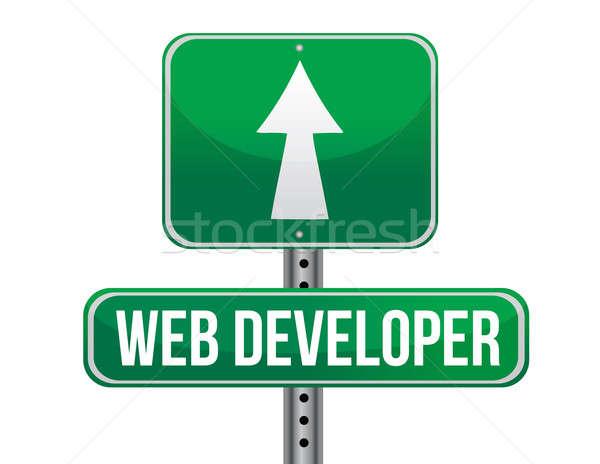 веб разработчик дорожный знак иллюстрация дизайна белый Сток-фото © alexmillos