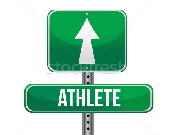 athlete road sign illustration design over a white background Stock photo © alexmillos
