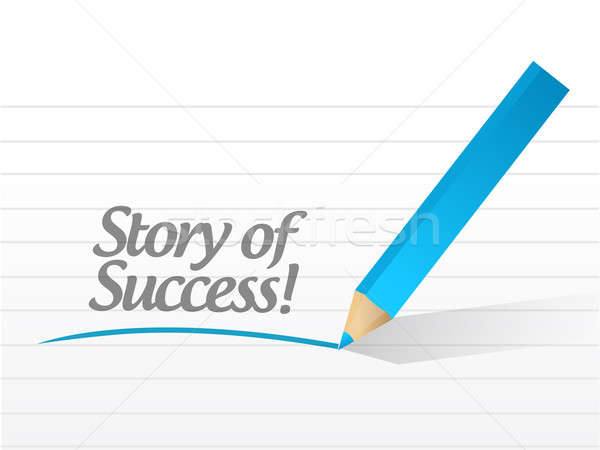 story of success written message illustration design over white Stock photo © alexmillos