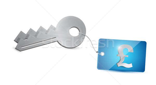 Sleutel brits pond veiligheid illustratie ontwerp Stockfoto © alexmillos