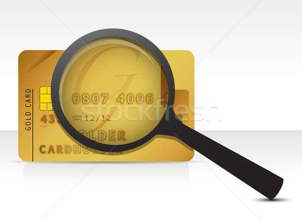 credit card magnify glass illustration design over a white backg Stock photo © alexmillos