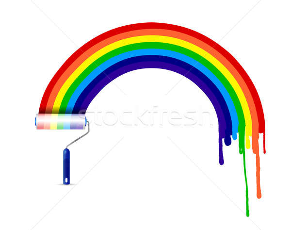 paint roller and ink rainbow illustration design over a white ba Stock photo © alexmillos