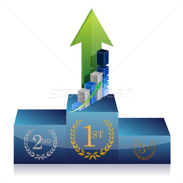 бизнеса победителем подиум графа иллюстрация дизайна Сток-фото © alexmillos