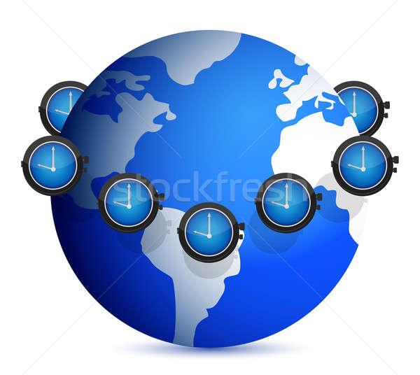 ストックフォト: 時間 · 周りに · 世界中 · 実例 · デザイン · 白