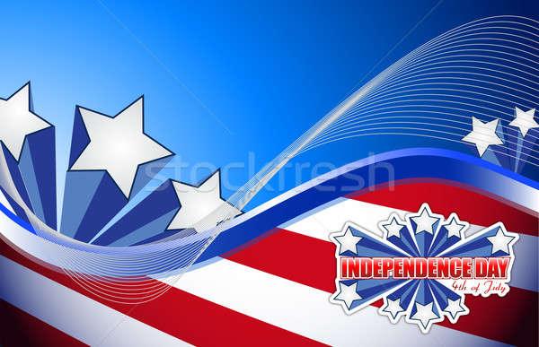 Negyedik nap hazafias absztrakt csillagok kék Stock fotó © alexmillos