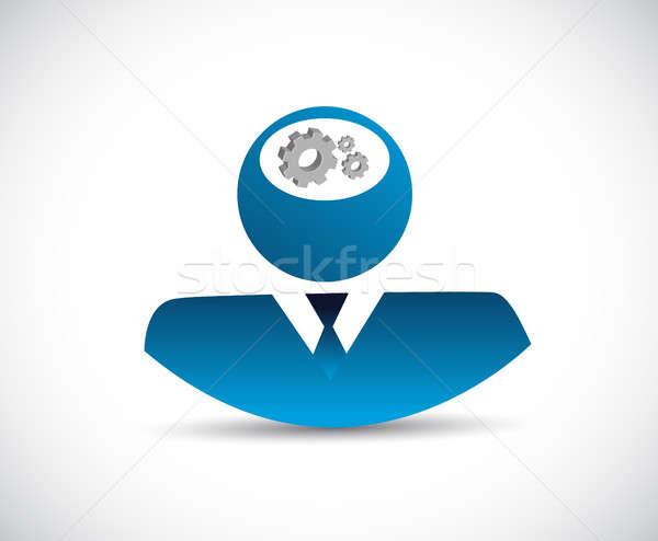 Stockfoto: Zakenman · denken · hersenen · versnellingen · illustratie · ontwerp