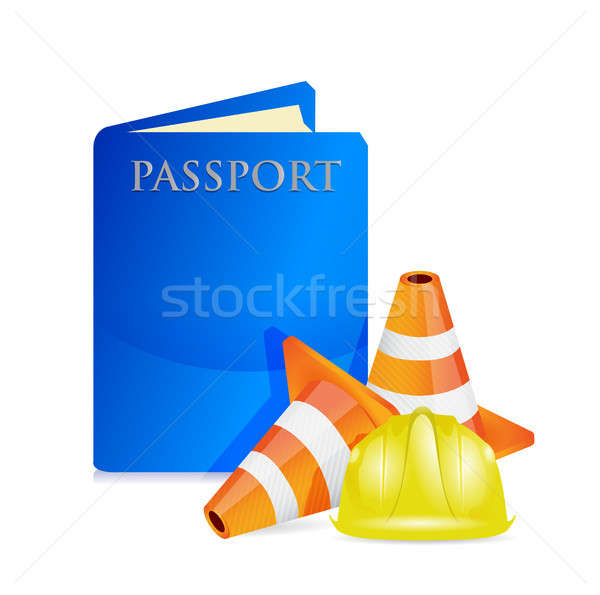 Foto stock: Passaporte · construção · assinar · ilustração · projeto · branco