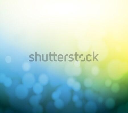 Stockfoto: Blauw · Geel · bokeh · abstract · lichtblauw · licht