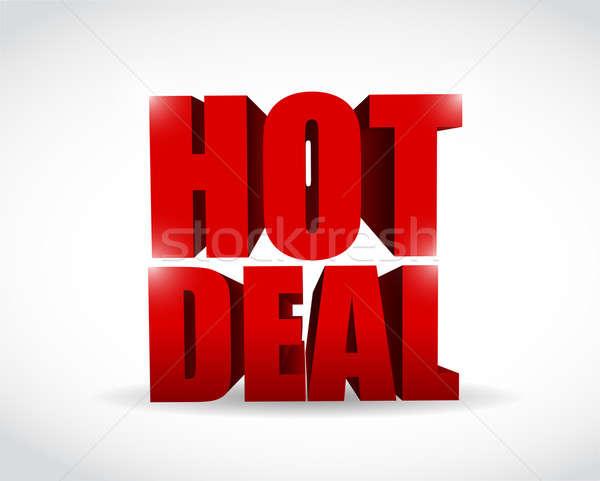 Hot deal 3d tekst illustratie ontwerp witte Stockfoto © alexmillos